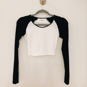 Express Cropped White & Black Long Sleeve